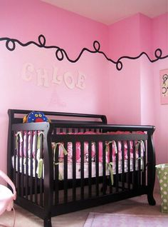 chocolate brown and pink baby girl nursery walls painting technique