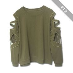 Punk Style Round Collar Long Sleeve Solid Color Hollow Out Women's Sweatshirt