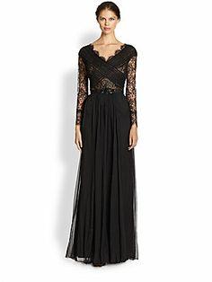 Tadashi Shoji Belted Lace & Silk Chiffon Dress