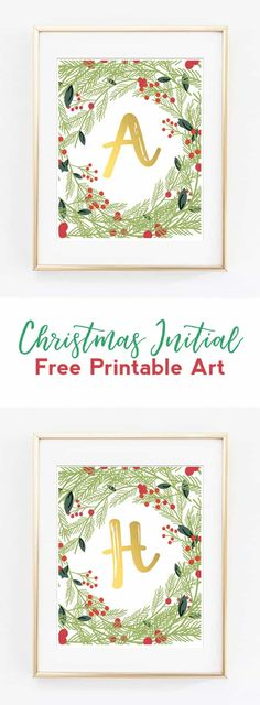 christmas initial art | christmas decor | free printable art | christmas wall art | christmas alphabet printables | winter art | christmas art