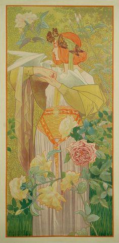 """""""The Seasons,"""" Set of Four Spanish Art Nouveau Period Lithographs by De Riquer 1899 *-*"""