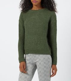 Khaki Honeycomb Knit Crew Neck Jumper