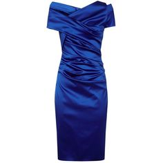 Talbot Runhof Gathered Satin V-Neck Pencil Dress ($1,090) ❤ liked on Polyvore featuring dresses, holiday party dresses, blue dress, cocktail dresses, ruched cocktail dress and blue party dress