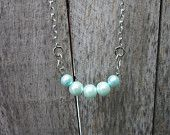 Light Blue 5 Pearl Necklace