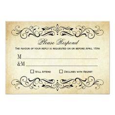 Vintage Wedding RSVP Vintage Wedding RSVP Cards | Elegant Flourish