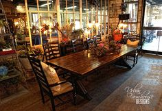 10ft. Farm Table with Ladder Back Chairs #UFD #CasualStyle #BoxCarFlooring #Opentothepublic
