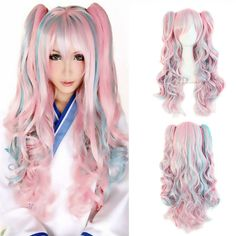 Lolita Wig Pink Blue Mixed Ombre Long Curly Clip In Ponytails Full Bangs Cosplay Wig Party Wigs HB88-in Synthetic Wigs from Beauty & Health on Aliexpress.com | Alibaba Group