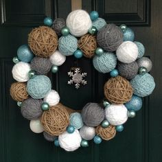 Yarn Ball Wreath with twine balls