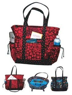 The Professional Tote Pattern also makes a great bag for travelling. There is a pleated pocket on each side of the tote to hold a bottle of water, umbrella, magazine, baby bottle or cellphone. On the front is a zippered pocket to hold your ID and Pas...