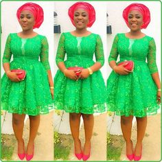 Last Beautiful Rock Green Aso Ebi Lace Styles. Here is green Aso ebi Lace Styles for those who love Aso Ebi Lace Styles, African Lace Styles, Lace Dress Styles, African Lace Dresses, Ankara Gown Styles, Latest African Fashion Dresses, African Print Fashion, Nigerian Fashion, Ankara Fashion