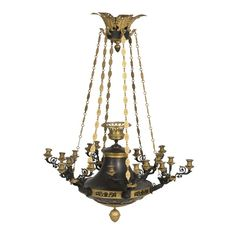 An Empire style Gilt and Patinated Bronze eighteen light Chandelier (France c. 1880) - The corona with acanthus leaf and grape-vine finials with hanging chains suspending a central circular dish adorned with stylized foliage and bees surmounted by six winged putto, each issuing three scrolled candle-branches