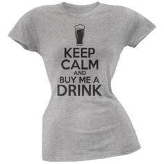 St. Patricks Day - Keep Calm Buy Me A Drink Heather Grey Soft Juniors T-Shirt