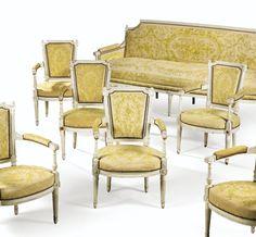 Mobilier comprenant un canapé et six fauteuils en bois relaqué crème d'époque Directoire, estampillé<em>ROYER A TROYES</em> | Lot | Sotheby's