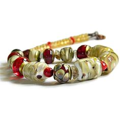 Beige Statement necklace with Lampwork, Beige and Red glass necklace,... ($56) ❤ liked on Polyvore featuring jewelry, necklaces, valentines day jewelry, red necklace, red jewellery, glass necklace and glass jewelry