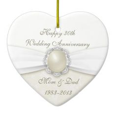 """Damask 30th Wedding Anniversary Ornament:  A Digitalbcon Images Design featuring an Pearl color and Damask design theme with a variety of custom images, shapes, patterns, styles and fonts in this one-of-a-kind """"Pearl Wedding Anniversary"""" Ornament. This elegant and attractive design comes complete with customizable text lettering both on the front and the reverse to suit your own special occasion.  #30thanniversary #30thwedding #anniversary #ornament #top50onzazzle"""