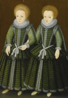 DOUBLE PORTRAIT OF TWO BOYS, FULL-LENGTH STANDING, WEARING MATCHING GREEN DOUBLETS AND SKIRTS, SAID TO BE CHILDREN OF THE POULETT FAMILY OF HINTON ST. GEORGE, SOMERSET