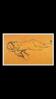 Egon Schiele - Nude Girl, 1918 - Black pencil on paper - 29,5 x 45,7 cm