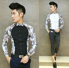 Find More Casual Shirts Information about Promotion 2014 New Runway Fashion Men Shirt Floral Patchwork Slim Fit Mens Casual Shirt,High Quality Casual Shirts from HOTI STYLE on Aliexpress.com