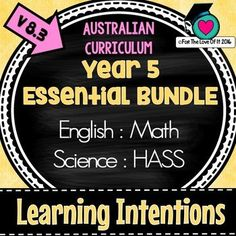SAVE! SAVE! SAVE! 15% OFF LEARNING INTENTIONS Year 5 BUNDLE!!! Now zipped individual subject areas This bundle contains The 4 Essential Subject areas which can be purchased separately in my store. Save time and the number of transactions to have the convenience of one file.