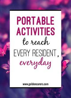 Not every resident attends group activities, and it can be a serious struggle to find ways to get them engaged with recreation. Intentionally curated carts and baskets can increase your reach and keep your residents happily active. Activities For Dementia Patients, Alzheimers Activities, Elderly Activities, Senior Activities, Work Activities, Physical Activities, Activity Ideas, Physical Education, Dementia Crafts