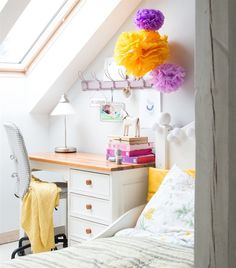Fresh summer bedroom | Fit a desk beneath a sloped ceiling for a light, and space savvy workspace | @mintyhouse