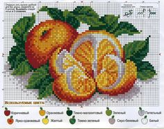 Citrus Cross Stitch Fruit, Cross Stitch Kitchen, Cross Stitch Heart, Beaded Cross Stitch, Cross Stitch Flowers, Embroidery Patterns Free, Embroidery Art, Cross Stitch Embroidery, Cross Stitch Designs