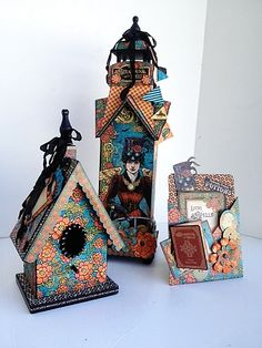 Amazing altered projects using Steampunk Spells from @Diane Schultz workshop! #graphic45 #steampunk