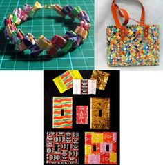 Love the bag...  Candy wrappers - What was once considered garbage is now art and craft supplies I adore the candy wrapper bag shame I don't eat candy
