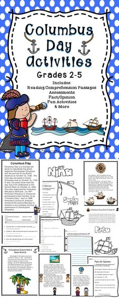 This Columbus Day Activity package includes activities to teach students about the importance of this holiday. Activities include non-fiction reading comprehension passages, assessments, fact and opinion, fun activities and more.
