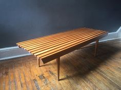 A personal favorite from my Etsy shop https://www.etsy.com/listing/265862564/mid-century-modern-slat-bench-coffee