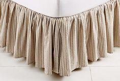 One Kings Lane - Joie de Vivre - Ticking Bed Skirt, Natural
