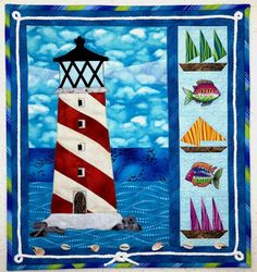 """sailing 'round the lighthouse"" memory quilt by chris porter"
