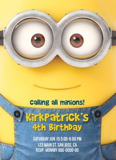 Minion Invitation Minion Birthday por whimsicraftcreations en Etsy