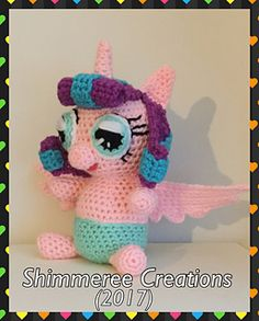 "PDF Pattern for Crochet Amigurumi ""My Little Pony"" Inspired Flurry Heart Unicorn Plush by Shimmeree Creations on Ravelry"