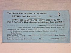 "Vintage 1951 State of Maryland LICENSE FOR DOG Paperwork Ephemera 7"" x 3½ """