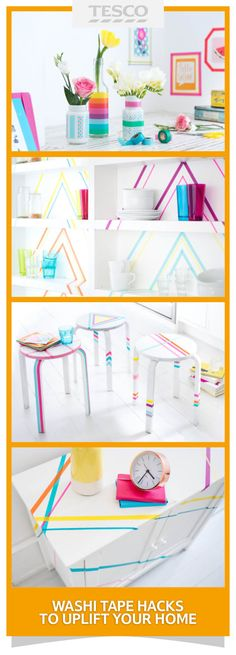 Try these creative ways to use washi tape at home – it's a quick and easy way to decorate vases, make photo frames, update bookshelves, stools, cabinets and more. | Tesco Living