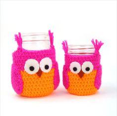 Owl Mason Jar Cozy Crochet Pattern Pint and Half by cuddlebugkids