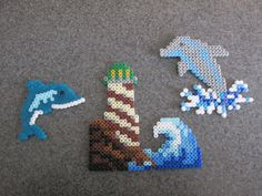 Dolphin and Lighthouse Perler Bead by JustImagineCreations on Etsy, $5.95