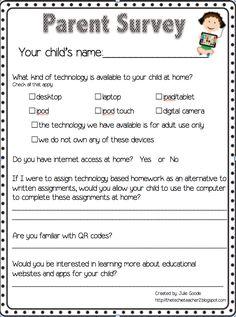 Parent Technology Survey Freebie!