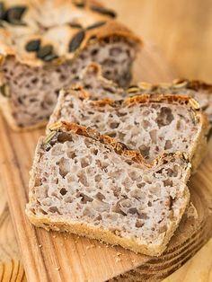 Chleb z mąki gryczanej Gluten Free Baking, Gluten Free Recipes, Vegetarian Recipes, Healthy Recipes, Healthy Cooking, Cooking Recipes, Healthy Eating, Breakfast Snacks, Bread Baking