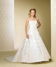 A Line Strapless Handmade Embroidery Cathedral Train Beading Satin Wedding Dress