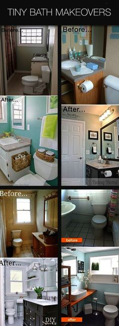 Tiny Bath Makeovers Lots of Tips Tutorials and Before & Afters of super small bathrooms #smallbathroom