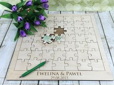 Wedding guest book puzzles