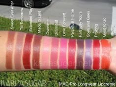 MAC, Pro Longwear Lipcreme, swatches, Sweet Ever After, Till Tomorrow, Extended Play, Made to Last, Overtime, Unlimited, Love Forever!, Perpetual Flame, Faithfully Yours, Goes and Goes, Prolong, Good to Go