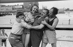 The Three Stooges and Barbara Bradford Mann -- 1938    The Three Stooges and Barbara Bradford Mann clowning around on the Steel Pier, Atlantic City, New Jersey 1938. Photo by George Mann of the comedy dance team, Barto and Mann.