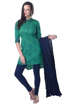 VASTRA VINOD TEAL GREEN COTTON SUIT SET