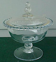 imperial candlewick footed candy jar