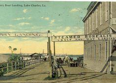 Borealis Steamer Ferry Landing Lake Charles, LA Louisiana Gumbo, Lake Charles, Historical Images, Old Postcards, Steamer, New Orleans, Kansas, Landing, The Past