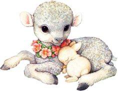 Lamb and bunny illustration