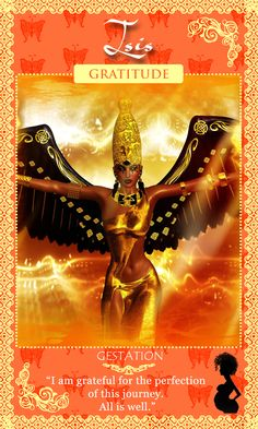 Egyptian Goddess Isis – Affirmation! I am grateful for the perfectio nof this journey. All is well. Womanifesting Fertility Goddess Affirmation Oracle Cards